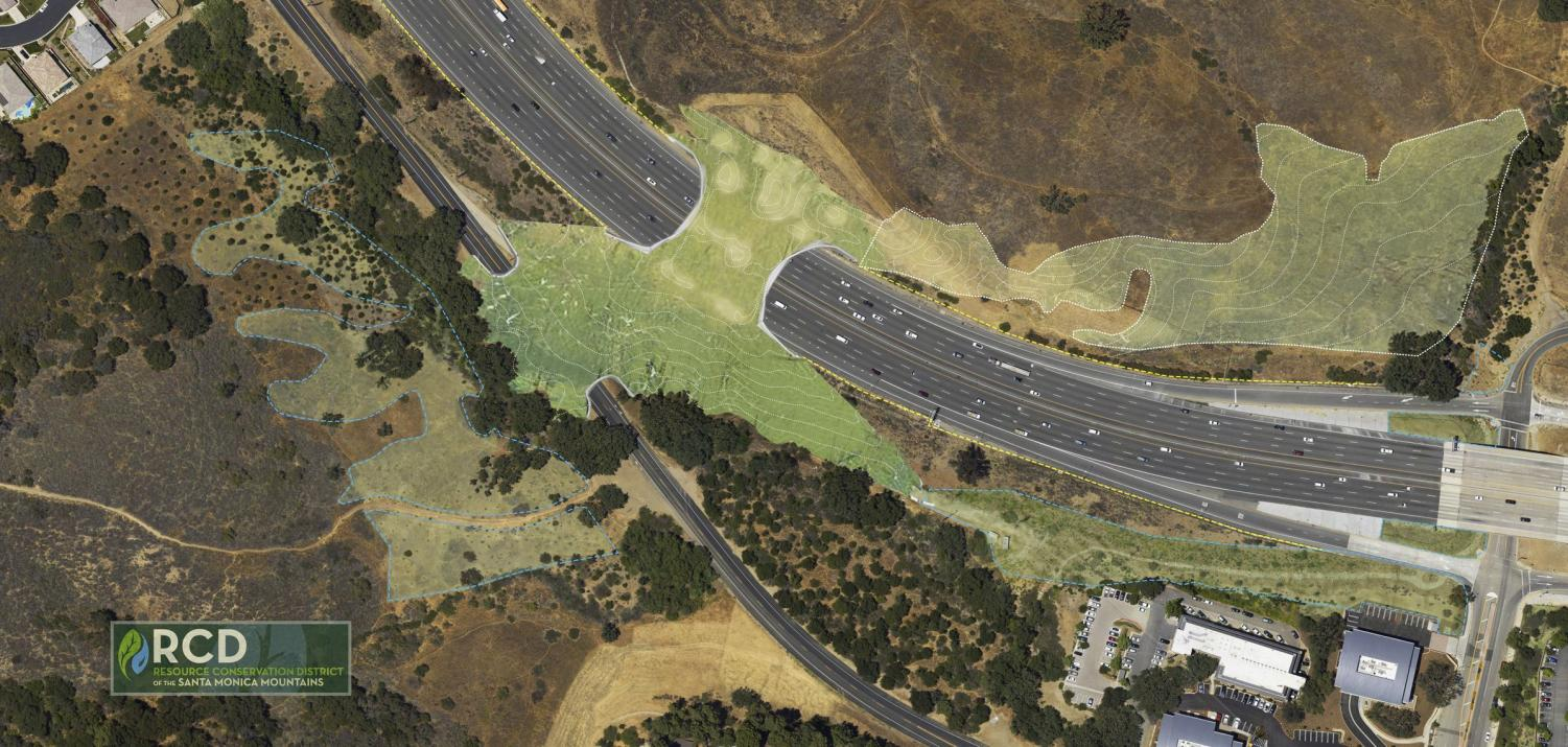 An artist's rendering for the planned wildlife crossing over the 101 freeway in Agoura Hills, California.