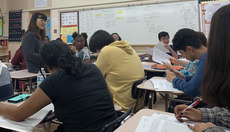 Mrs. Kim teaching one of her classes.