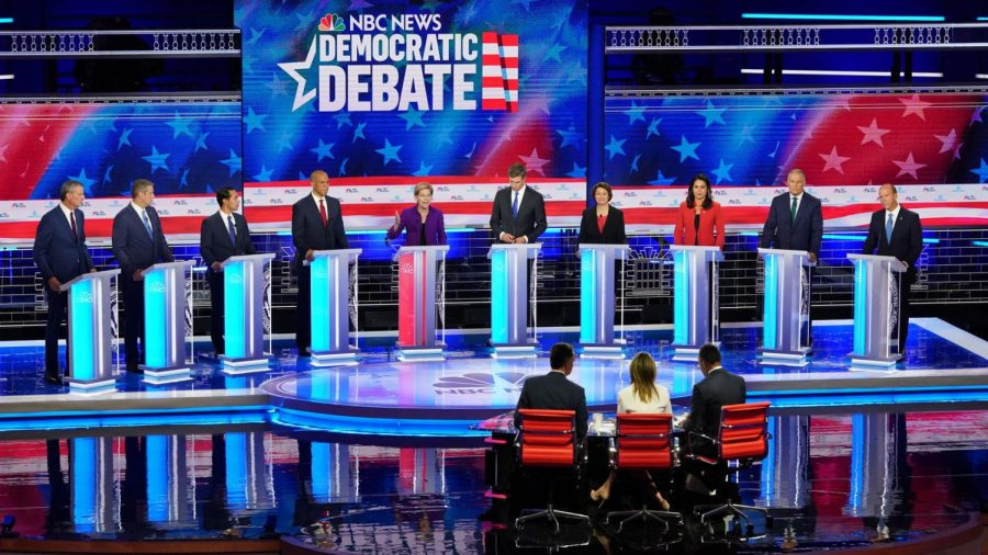 A+photo+of+10+of+the+Democratic+presidential+candidates+during+the+first+Democratic+debate+in+June+of+2019