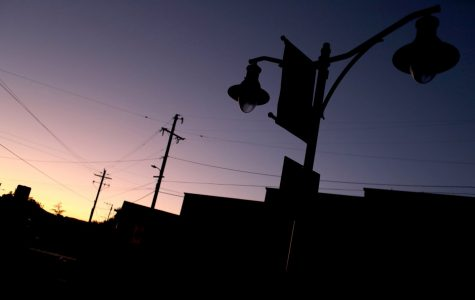 A street lamp in Sunol goes out during a power outage on October 10.