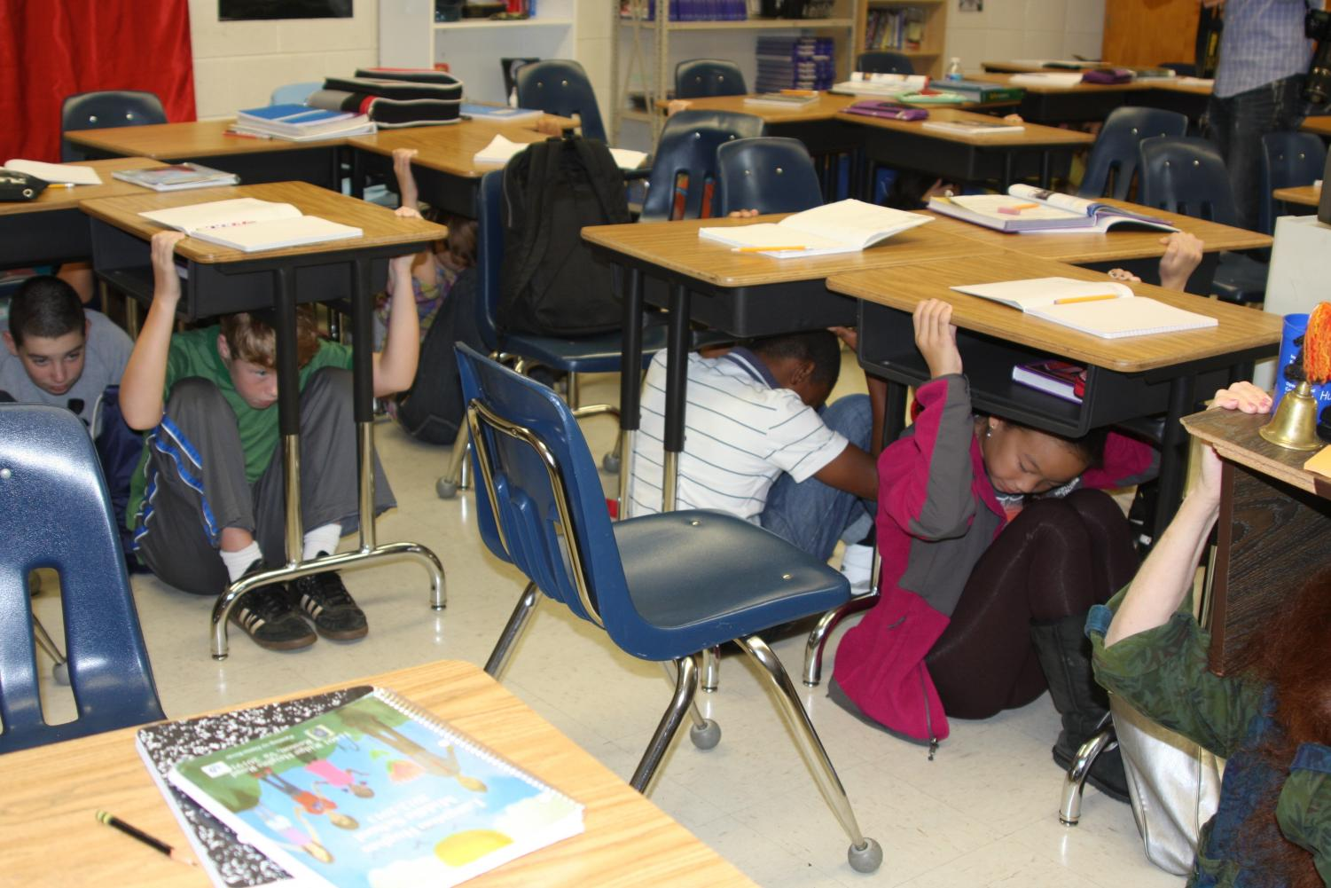 Students participating in the Great Southeast Shakeout drill at Langston Hughes Middle School in Reston, Virginia.