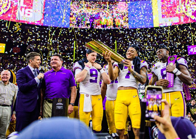 LSU celebrates their championship win