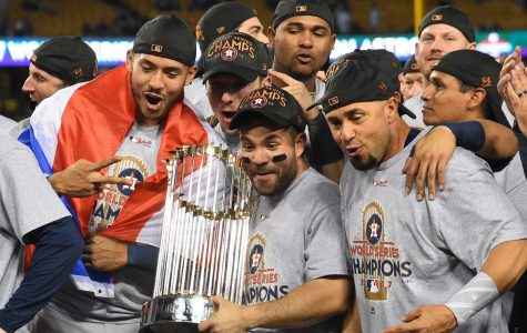 The Astro's celebrating their 2017 World Series win in which they cheated