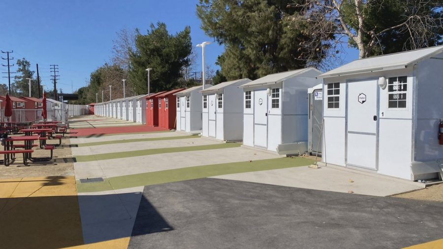 Tiny homes built for those in need in Los Angeles.